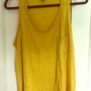 MANGO yellow linen top L